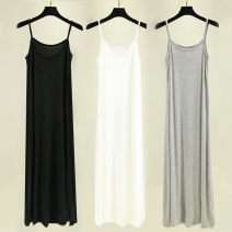 Dress Summer 2021 Black, white, light gray, complexion, black medium, white medium, light gray medium, complexion medium, black long, white long, light gray long, complexion long M,L,XL longuette singleton  Sleeveless commute Crew neck Loose waist Solid color Socket A-line skirt routine camisole