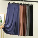skirt Summer 2021 M,L,XL,2XL Black, Navy, dark grey, lotus root pink, Dark Khaki longuette commute High waist A-line skirt Solid color Type A 81% (inclusive) - 90% (inclusive) other modal  Korean version