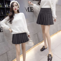 skirt Autumn of 2018 S,M,L,XL Black, dark grey Short skirt commute High waist Pleated skirt Solid color Type A 81% (inclusive) - 90% (inclusive) Wool other Pleating, pleating thread splicing 3D Korean version