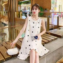Dress VSETAMELLE Picture color M,L,XL,XXL Korean version Sleeveless Medium length summer Crew neck Dot Chiffon