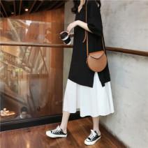 Dress VSETAMELLE black 50. XL, XXL, XXXL, XXL Korean version Short sleeve Medium length summer V-neck Solid color nylon