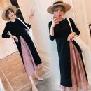 Dress VSETAMELLE Black, lactation M. L, XL, XXL, XXXL, oversize, XXXL, other sizes Korean version Long sleeves Medium length autumn Crew neck Solid color vs100303