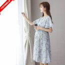 Dress VSETAMELLE Blue, pink M,L,XL,XXL Korean version Short sleeve Medium length summer Crew neck Decor Chiffon