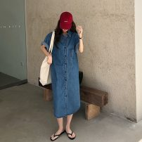 Dress VSETAMELLE blue S,M,L Korean version Long sleeves have more cash than can be accounted for summer Crew neck Solid color Denim vs4504845609