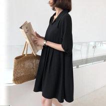 Dress VSETAMELLE Black short, black long M,L,XL,XXL Korean version Short sleeve Medium length summer Lapel Solid color Chiffon