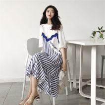 Dress VSETAMELLE Red, blue Average size Korean version Short sleeve Medium length summer Crew neck stripe nylon