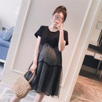 Dress VSETAMELLE Black and white M,L,XL,XXL Korean version Short sleeve Medium length summer Crew neck nylon