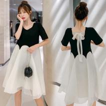 Dress VSETAMELLE Green, black M,L,XL,XXL Korean version Short sleeve routine summer Crew neck Solid color Chiffon