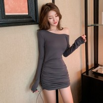 Women's large Autumn 2020 Dark grey Khaki S M L Dress singleton  commute Self cultivation moderate Socket Long sleeves Korean version One word collar fold routine Glganrlin / Ganlin 25-29 years old 71% (inclusive) - 80% (inclusive) Short skirt Polyester 65% other 35% Pure e-commerce (online only)
