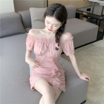 Women's large Summer 2021 Purple Pink S M Dress singleton  commute Self cultivation moderate Short sleeve Solid color Korean version One word collar Glganrlin / Ganlin 18-24 years old 71% (inclusive) - 80% (inclusive) Short skirt Polyester 65% other 35% Pure e-commerce (online only)