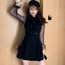 Dress Autumn of 2019 S M L XL longuette singleton  Long sleeves commute V-neck High waist Socket A-line skirt bishop sleeve Others 18-24 years old Type A Glganrlin / Ganlin Korean version Button mesh stitching More than 95% polyester fiber Polyester 95% polyurethane elastic fiber (spandex) 5%