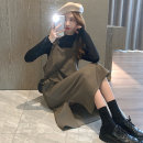 Women's large Autumn 2020 Black base + card color strap skirt grey base + black strap skirt S M L Dress Two piece set commute Self cultivation moderate Socket Long sleeves Solid color Retro Crew neck routine printing and dyeing routine LJMC8N4507 Glganrlin / Ganlin 18-24 years old longuette