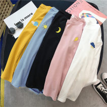 T-shirt White, blue, yellow, black, pink, white sling 009 M,L,XL,2XL Autumn of 2019 polyester fiber 96% and above Other / other