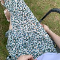 skirt Summer 2020 Average size Red bottom chrysanthemum, yellow bottom chrysanthemum, foundation small chrysanthemum, deep blue bottom chrysanthemum, light blue bottom chrysanthemum, purple bottom chrysanthemum, white trousers. Mid length dress fresh Natural waist Decor other