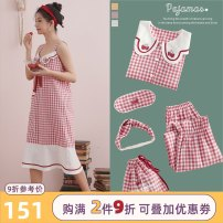 Pajamas / housewear set female Miojuer / Mojiao M L XL cotton Long sleeves Sweet pajamas spring Small lapel lattice trousers double-breasted youth rubber string More than 95% pure cotton Mosaic decoration Cotton 100% Spring 2020 Exclusive payment of tmall