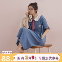 Nightdress Miojuer / Mojiao M L XL Sweet Short sleeve Leisure home longuette summer Solid color youth Small lapel cotton More than 95% pure cotton 82016 (deep bay blue Nightgown) Summer 2020 Cotton 100% Exclusive payment of tmall