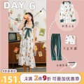 Nightdress Miojuer / Mojiao M L XL Sweet Long sleeves pajamas longuette autumn Plants and flowers youth Small lapel cotton printing More than 95% pure cotton Autumn of 2019 Cotton 100% Pure e-commerce (online only)