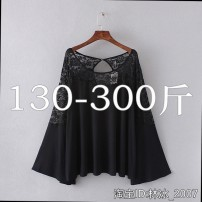 Lace / Chiffon Spring 2020 black 5XL,4XL,3XL,2XL,XL Long sleeves other Socket singleton  easy Medium length Solid color 30-34 years old 81% (inclusive) - 90% (inclusive) cotton