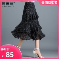 skirt Summer of 2019 M L XL 2XL 3XL Black apricot Mid length dress commute High waist Cake skirt Dot Type A Chiffon Qian balan Asymmetric zipper Korean version