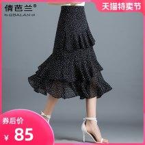 skirt Summer of 2019 M L XL 2XL 3XL Black apricot Mid length dress commute High waist Cake skirt Dot Type A Chiffon Qian balan Asymmetric zipper Korean version