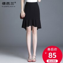 skirt Summer 2020 M L XL 2XL 3XL 4XL black Short skirt commute High waist A-line skirt Solid color Type A 25-29 years old Chiffon Qian balan Asymmetrical zipper with ruffle Korean version