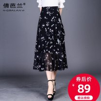 skirt Summer of 2019 S M L XL XXL 3XL 4XL White flower, green leaf, black and white, small and colorful Mid length dress commute High waist A-line skirt Broken flowers Type A 25-29 years old QBL-3205 Chiffon Qian balan zipper Korean version