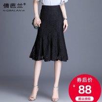 skirt Summer 2020 M L XL 2XL 3XL 4XL black Mid length dress commute High waist skirt Solid color Type A 25-29 years old Lace Qian balan Cut out zipper lace Korean version