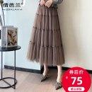 skirt Spring 2021 Average size Black Khaki apricot Mid length dress commute High waist A-line skirt Solid color Type A Qian balan Mesh splicing Korean version
