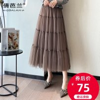 skirt Spring 2021 Average size Black Khaki apricot Mid length dress commute High waist A-line skirt Solid color Type A Qian balan Mesh splicing Korean version
