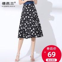 skirt Summer 2020 M L XL 2XL 3XL 4XL Black red white flower Mid length dress commute High waist A-line skirt Decor Type A 25-29 years old Chiffon Qian balan Zipper printing Korean version