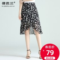 skirt Summer 2020 M L XL 2XL 3XL 4XL Black little Daisy white little Daisy line black line red Mid length dress commute High waist A-line skirt Decor Type A 25-29 years old Chiffon Qian balan Asymmetric zipper printing with ruffles Korean version