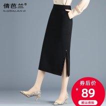 skirt Autumn 2020 M L XL 2XL 3XL 4XL black Mid length dress commute High waist skirt Solid color Type H Qian balan Pocket split Korean version