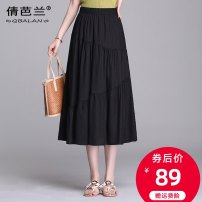 skirt Summer 2020 Average size Black peacock blue purple red white Mid length dress commute High waist A-line skirt Solid color Type A 25-29 years old Qian balan Korean version