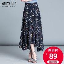 skirt Summer of 2019 M L XL 2XL 3XL 4XL Mid length dress commute High waist Irregular Decor Type A 25-29 years old Chiffon Qian balan Asymmetric zipper printing with ruffles Korean version
