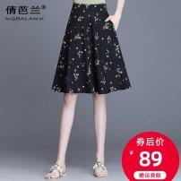 skirt Summer 2020 M L XL 2XL 3XL 4XL black Middle-skirt commute High waist A-line skirt Decor Type A 25-29 years old qlb-2027 Qian balan Pocket zipper print Korean version