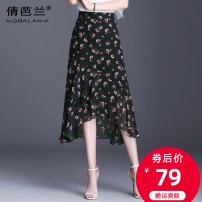 skirt Summer 2020 M L XL 2XL 3XL 4XL Broken flowers Mid length dress commute High waist Ruffle Skirt Decor Type A 25-29 years old Chiffon Qian balan Asymmetric zipper printing with ruffles Korean version