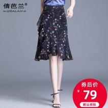 skirt Summer 2020 M L XL 2XL 3XL 4XL Black Decor Mid length dress commute High waist Ruffle Skirt Decor Type A 25-29 years old Chiffon Qian balan Asymmetric zipper printing with ruffles Korean version