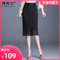 skirt Spring 2020 M L XL XXL 3XL 4XL black Mid length dress commute High waist skirt 25-29 years old QBJ7821 Qian balan Mesh zipper lace Korean version