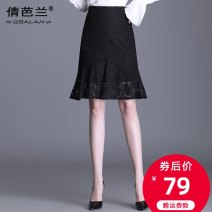 skirt Spring 2021 M L XL 2XL 3XL 4XL black Middle-skirt commute High waist skirt Solid color Type A LBQ3053 Lace Qian balan Ruffle zipper lace Korean version