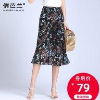 skirt Summer 2020 M L XL 2XL 3XL 4XL Black and red dots Mid length dress commute High waist skirt Decor Type A 25-29 years old Chiffon Qian balan Ruffle zipper print Korean version