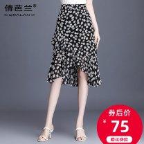 skirt Summer 2020 M L XL 2XL 3XL 4XL Daisy, pure black Mid length dress commute High waist A-line skirt Decor Type A 25-29 years old QB6378 Chiffon Qian balan Asymmetric zipper printing with ruffles Korean version
