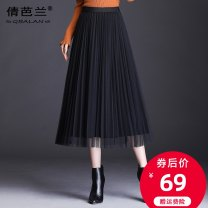 skirt Autumn of 2019 Average size Green black (spring and Autumn) black (Chiffon mesh summer) gray (Chiffon mesh summer) Mid length dress commute High waist Pleated skirt Solid color Type A 25-29 years old QLB193 Qian balan Pleated gauze Korean version