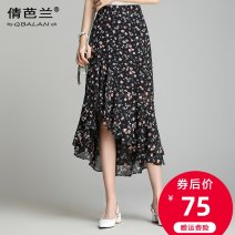 skirt Spring 2021 M L XL 2XL 3XL 4XL Small black flowers Mid length dress commute High waist Ruffle Skirt Decor Type A 21Q6805 Chiffon Qian balan Asymmetric zipper printing with ruffles Korean version