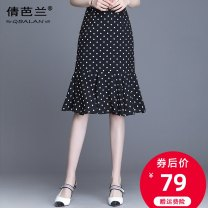 skirt Summer 2020 M L XL 2XL 3XL 4XL Black and white Mid length dress commute High waist A-line skirt Dot Type A 25-29 years old Qian balan Ruffle zipper print Korean version