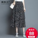 skirt Summer 2020 M L XL 2XL 3XL 4XL Color black dot Mid length dress commute High waist A-line skirt Decor Type A 25-29 years old Chiffon Qian balan Asymmetric printing with ruffles Korean version