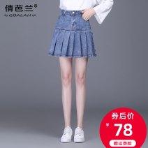 skirt Spring 2021 M L XL 2XL 3XL 4XL blue Short skirt commute High waist Pleated skirt Solid color Type A B1731 Qian balan Pocket button zipper Korean version