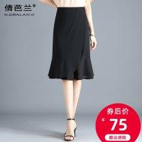 skirt Summer 2020 M L XL 2XL 3XL 4XL Black wave point Mid length dress commute High waist skirt Dot Type A 25-29 years old QL2056 Chiffon Qian balan Asymmetrical zipper with ruffle Korean version