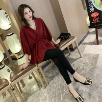 Women's large Summer 2021 Black top , Red top , White coat , Black top + Black pants , Red top + Black pants , White coat + Black pants , Single pants 379 M (90-110kg), l (110-120kg), XL (120-140kg), 2XL (140-160kg), 3XL (160-180kg), 4XL (180-200kg) singleton  commute Straight cylinder thickening
