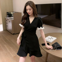 Women's large Summer 2021 black M [85-100 Jin], l [100-120 Jin], XL [120-140 Jin], 2XL [140-160 Jin], 3XL [160-180 Jin], 4XL [180-200 Jin] Dress singleton  commute Self cultivation moderate Socket Short sleeve Solid color Retro V-neck Medium length Three dimensional cutting puff sleeve Other / other
