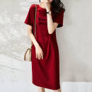 Dress Spring 2021 gules M,L,XL,2XL,3XL Mid length dress singleton  Short sleeve commute Crew neck Solid color other 25-29 years old Other / other Button, pocket, lace up WN0002280 81% (inclusive) - 90% (inclusive) other